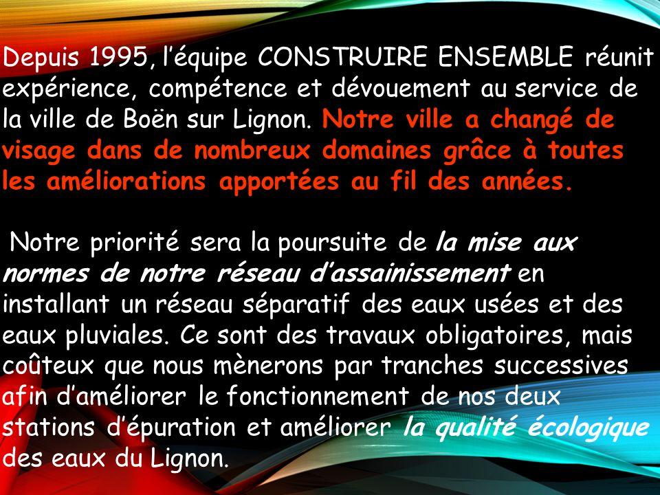Depuis 1995, l'équipe CONSTRUIRE ENSEMBLE réunit expérience, compétence et dévouement au service de la ville de Boën sur Lignon. Notre ville a changé de visage dans de nombreux domaines grâce à toutes les améliorations apportées au fil des années.