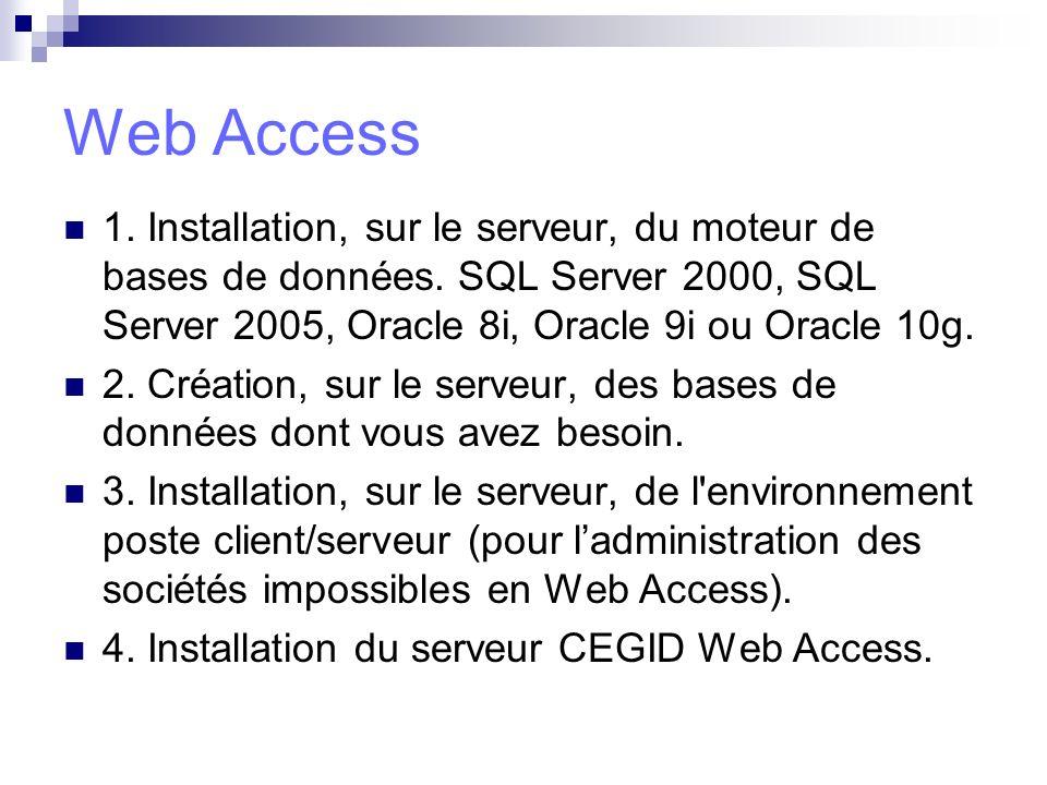 Web Access 1. Installation, sur le serveur, du moteur de bases de données. SQL Server 2000, SQL Server 2005, Oracle 8i, Oracle 9i ou Oracle 10g.
