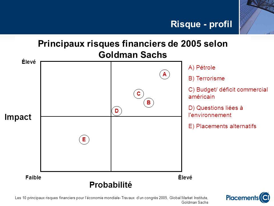 Principaux risques financiers de 2005 selon Goldman Sachs