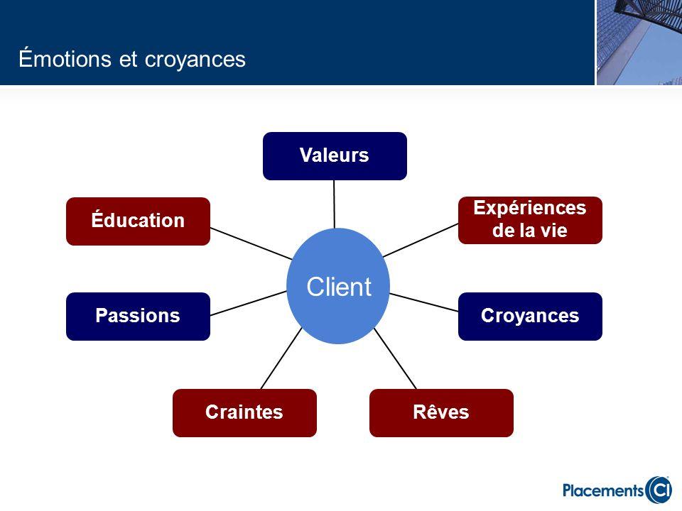 Client Émotions et croyances Valeurs Éducation Expériences de la vie