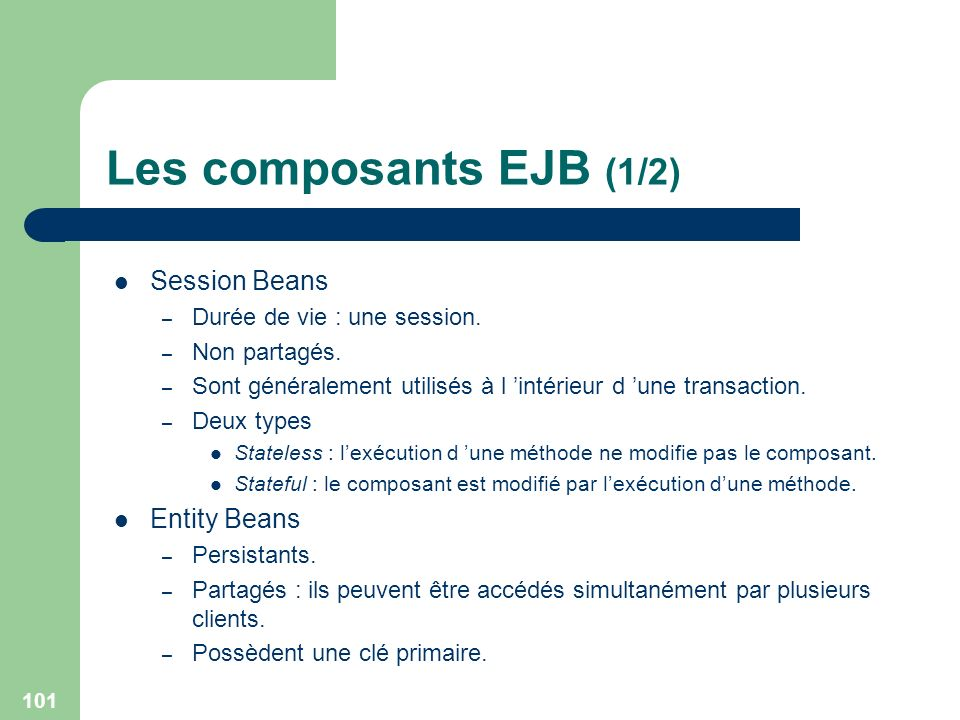 Les composants EJB (1/2) Session Beans Entity Beans