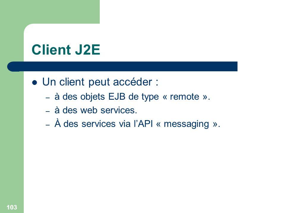 Client J2E Un client peut accéder :