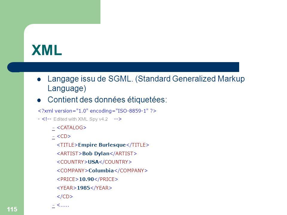 XML Langage issu de SGML. (Standard Generalized Markup Language)