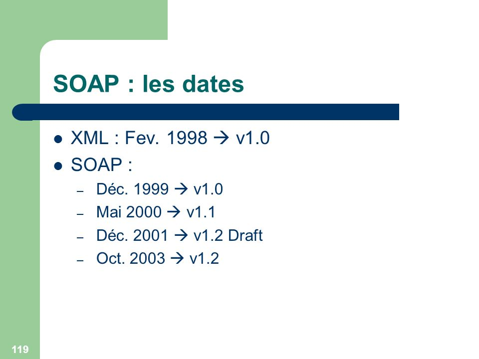 SOAP : les dates XML : Fev. 1998  v1.0 SOAP : Déc. 1999  v1.0