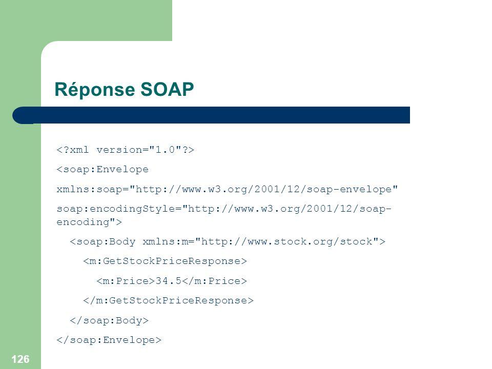 Réponse SOAP < xml version= 1.0 > <soap:Envelope