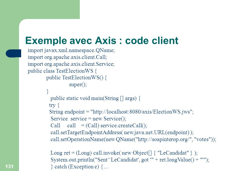 Exemple avec Axis : code client