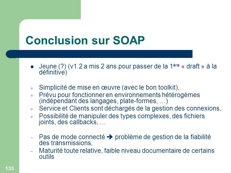Conclusion sur SOAP Jeune ( ) (v1.2 a mis 2 ans pour passer de la 1ère « draft » à la définitive) Simplicité de mise en œuvre (avec le bon toolkit),