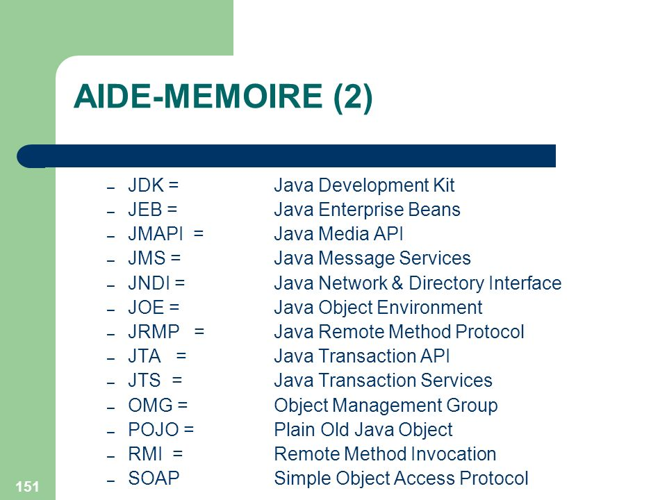 AIDE-MEMOIRE (2) JDK = Java Development Kit