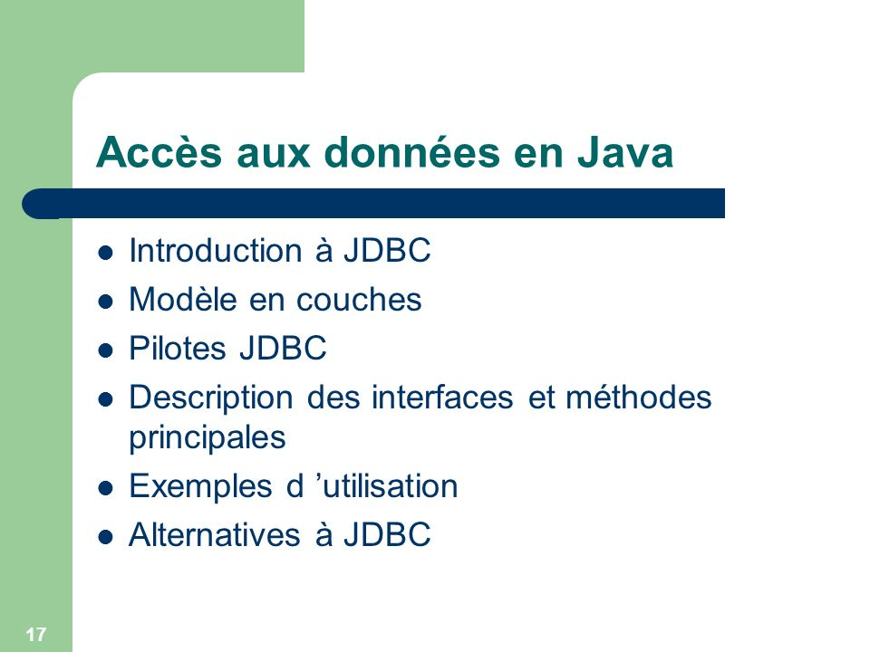 Accès aux données en Java