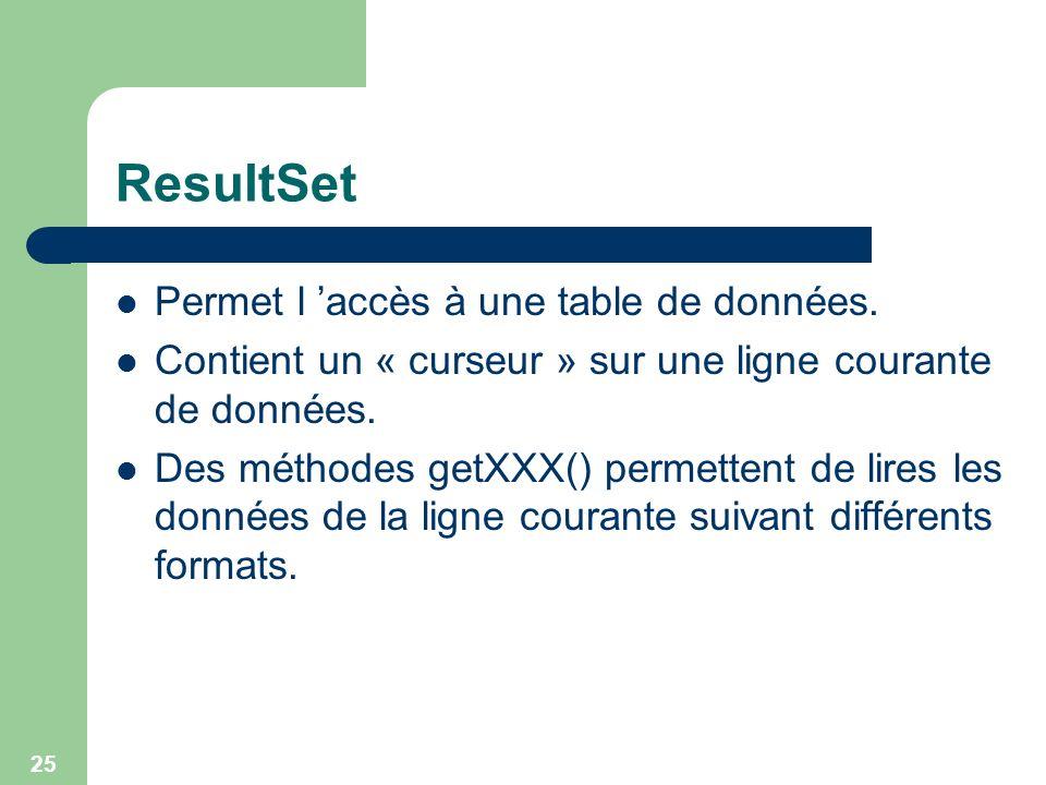 ResultSet Permet l 'accès à une table de données.