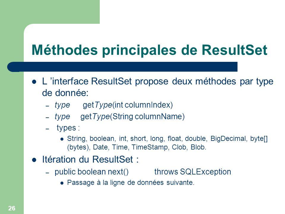 Méthodes principales de ResultSet