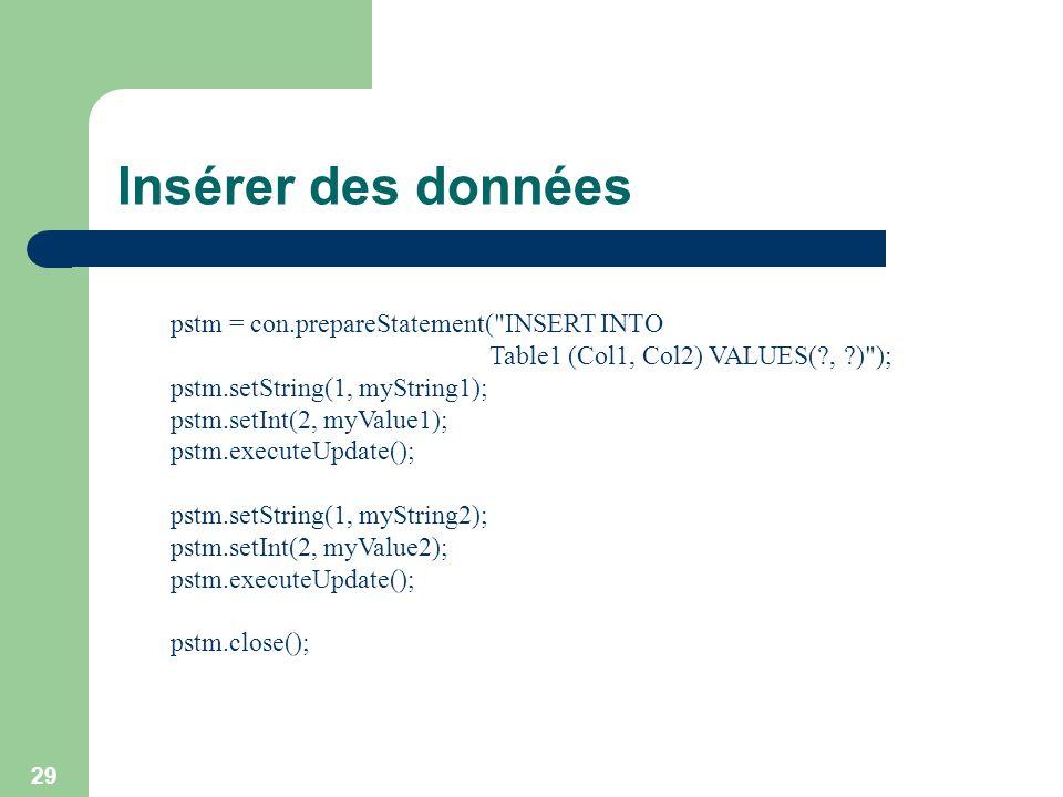 Insérer des données pstm = con.prepareStatement( INSERT INTO