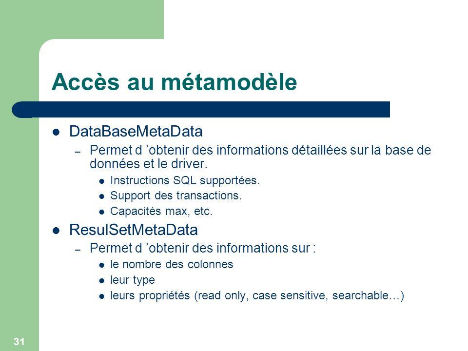 Accès au métamodèle DataBaseMetaData ResulSetMetaData