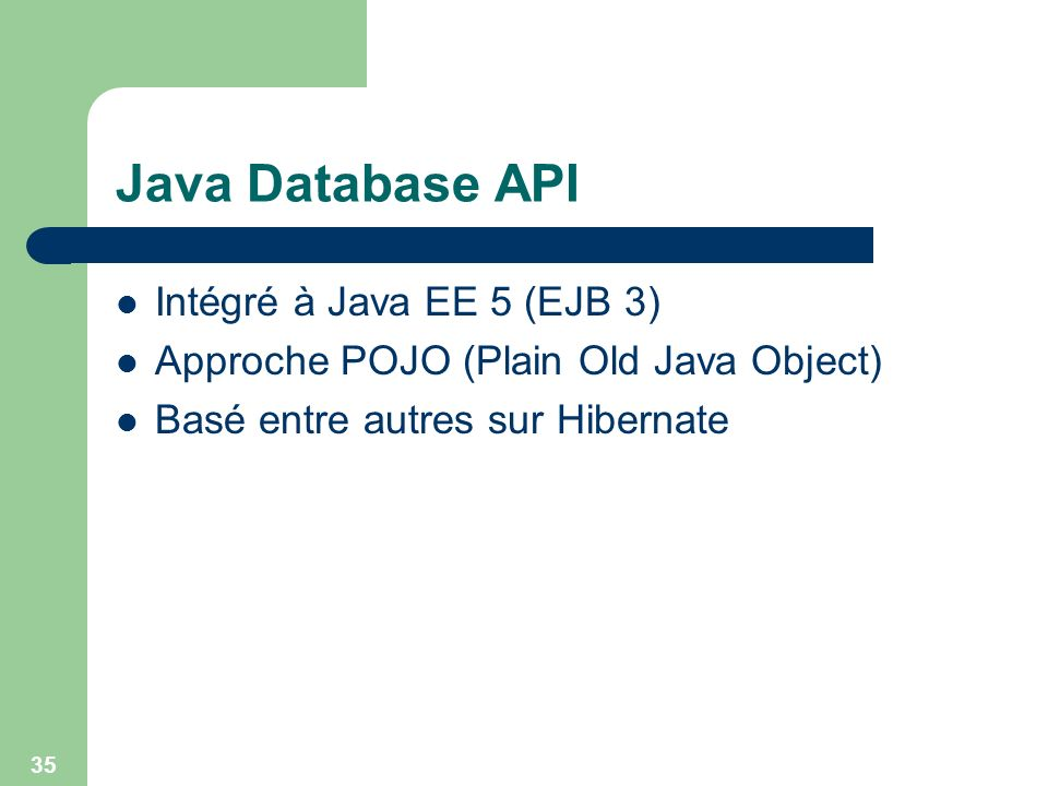 Java Database API Intégré à Java EE 5 (EJB 3)