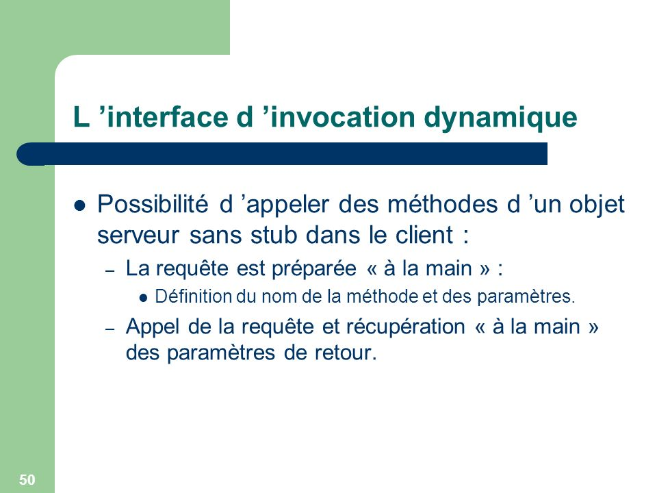 L 'interface d 'invocation dynamique