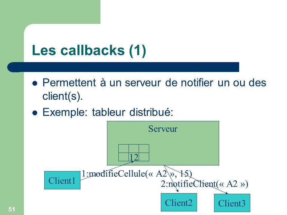 Les callbacks (1) Permettent à un serveur de notifier un ou des client(s). Exemple: tableur distribué: