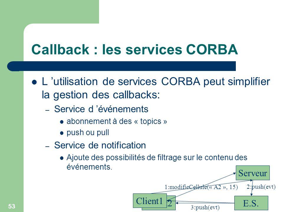 Callback : les services CORBA