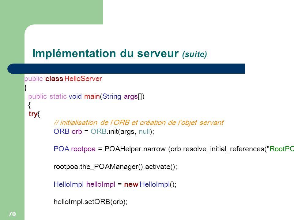Implémentation du serveur (suite)