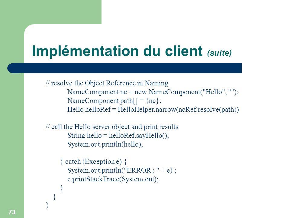 Implémentation du client (suite)