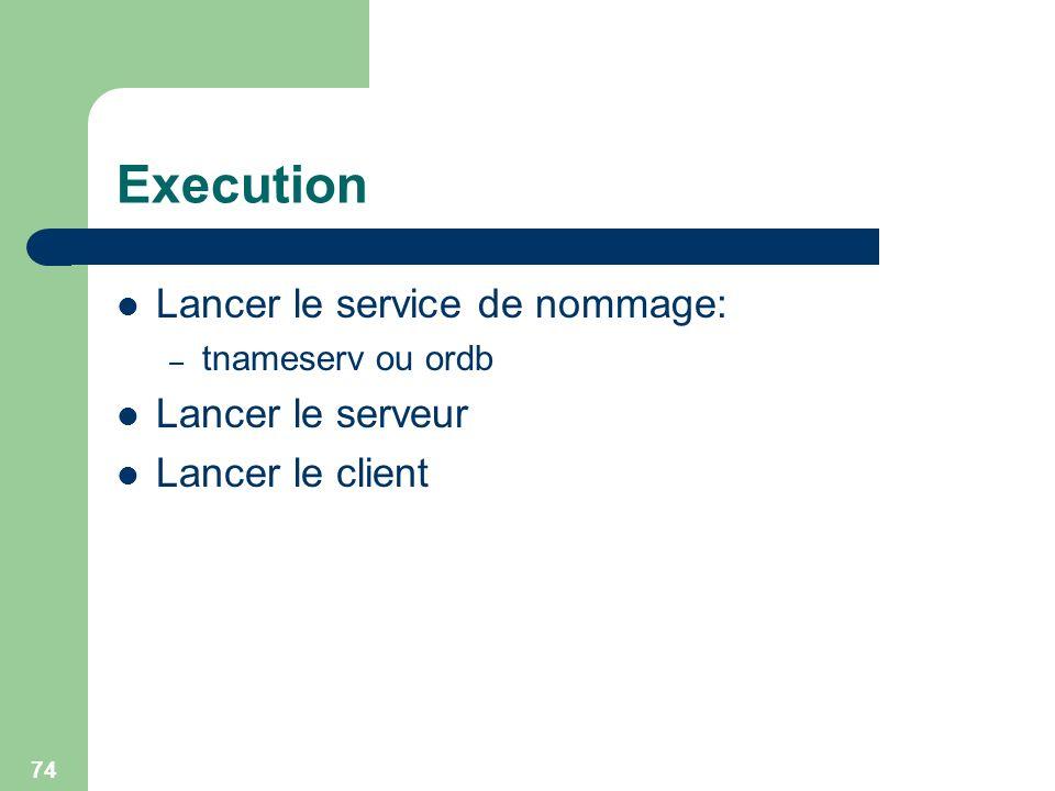 Execution Lancer le service de nommage: Lancer le serveur