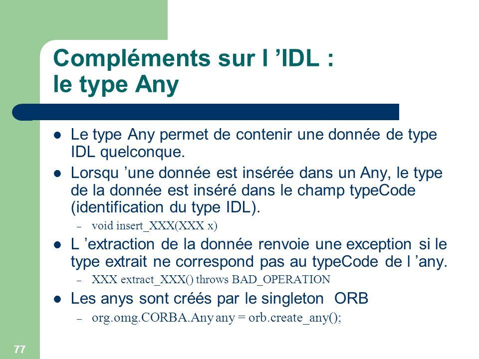 Compléments sur l 'IDL : le type Any
