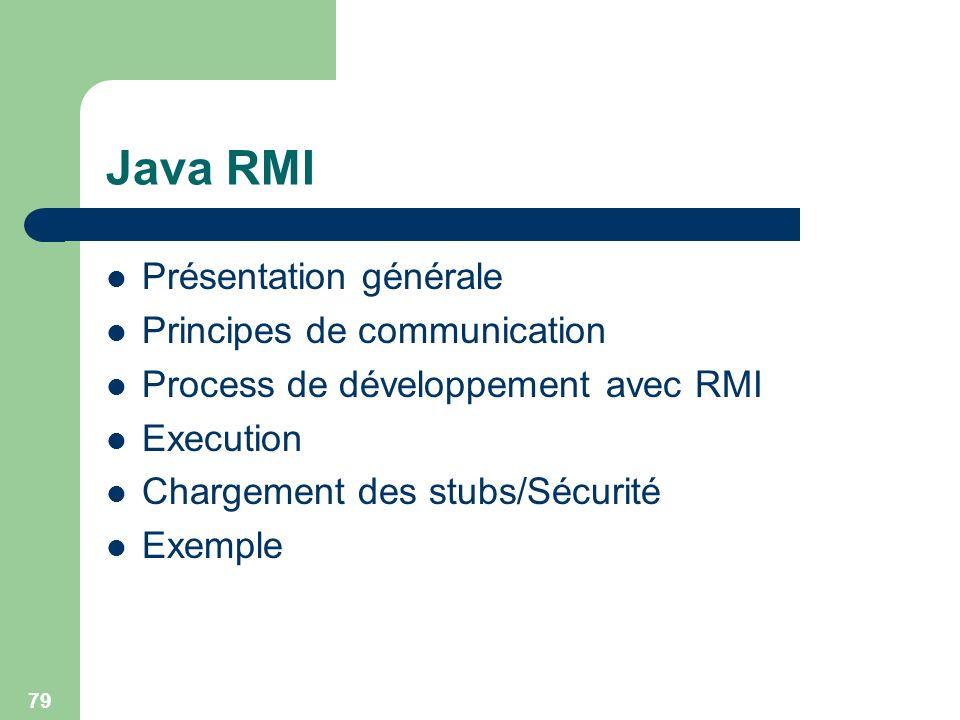 Java RMI Présentation générale Principes de communication