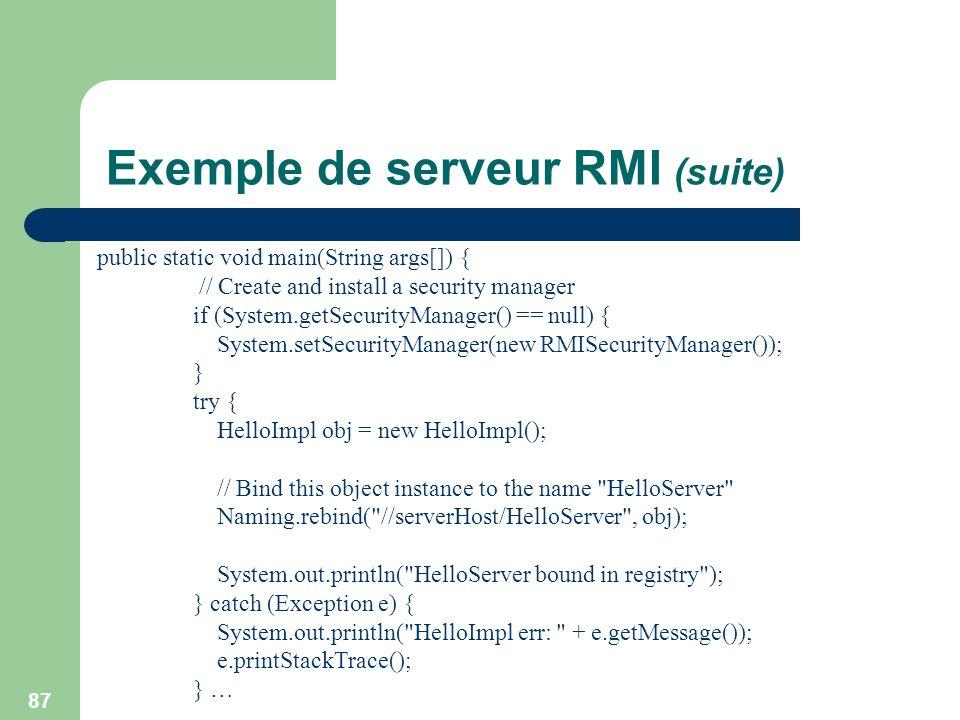 Exemple de serveur RMI (suite)