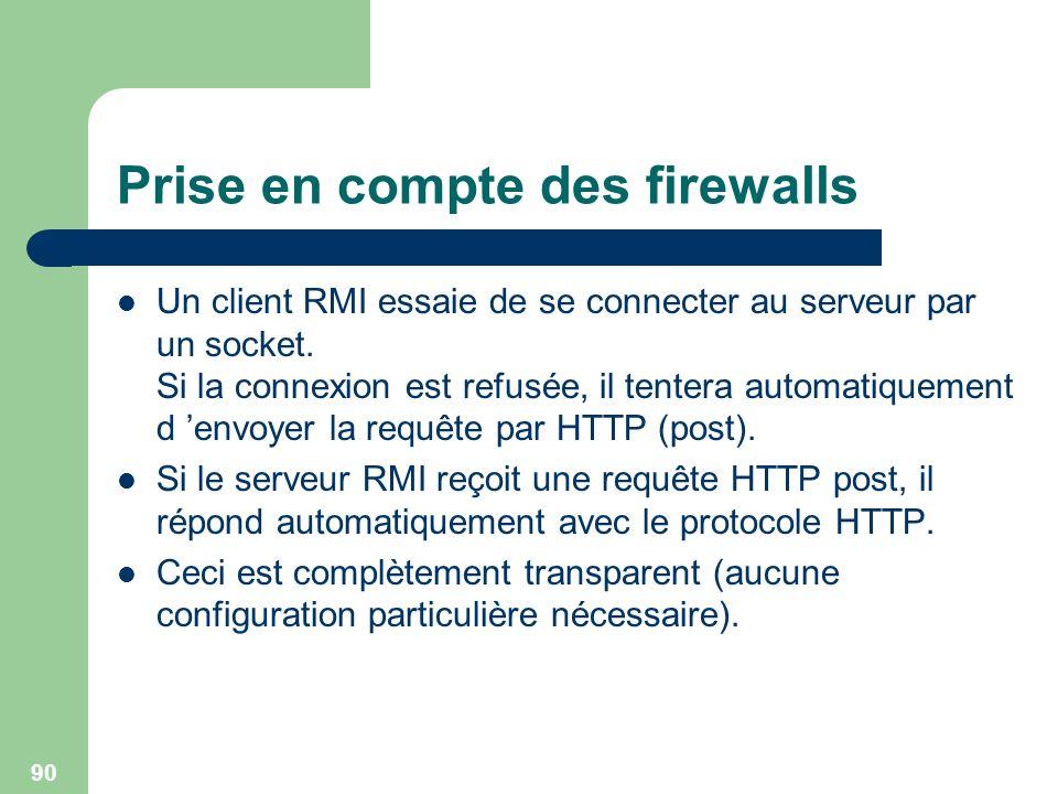 Prise en compte des firewalls