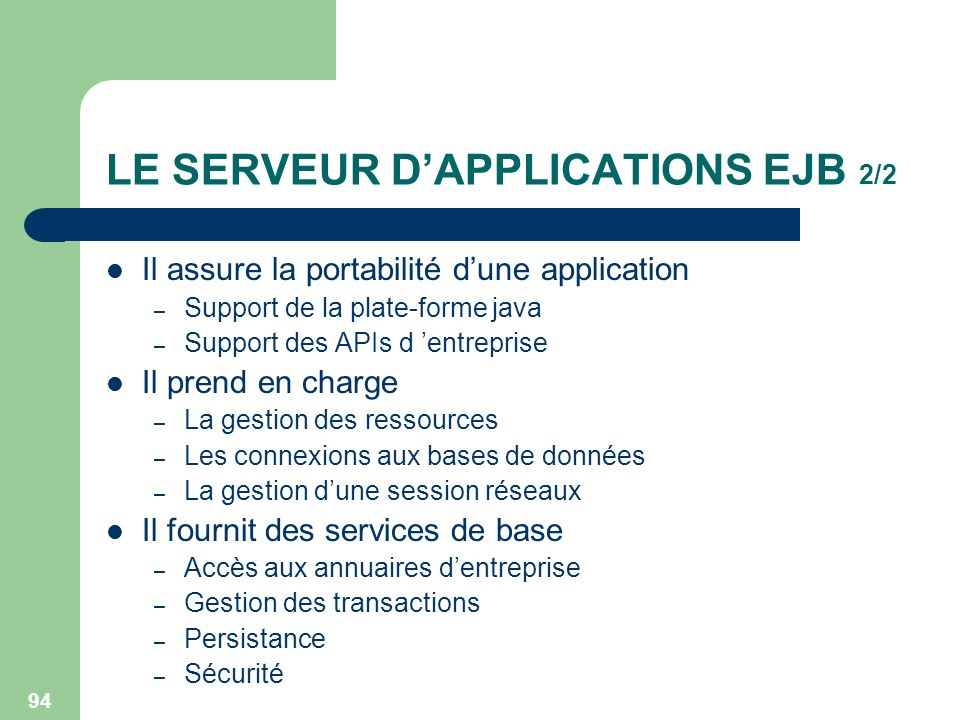 LE SERVEUR D'APPLICATIONS EJB 2/2