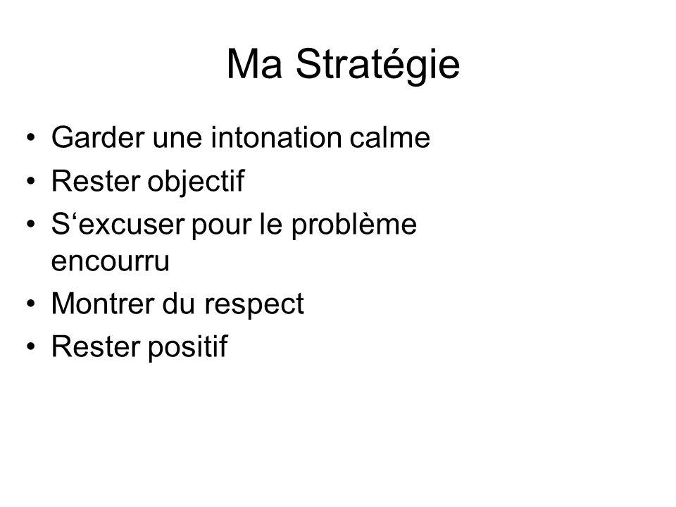 Ma Stratégie Garder une intonation calme Rester objectif
