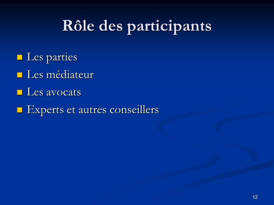 Rôle des participants Les parties Les médiateur Les avocats