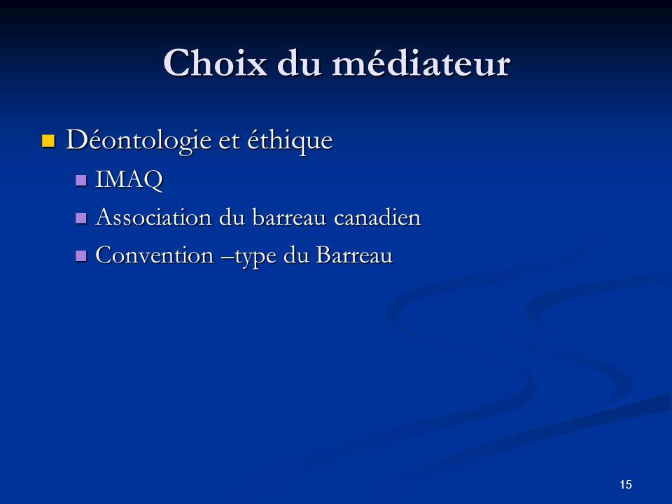 Choix du médiateur Déontologie et éthique IMAQ