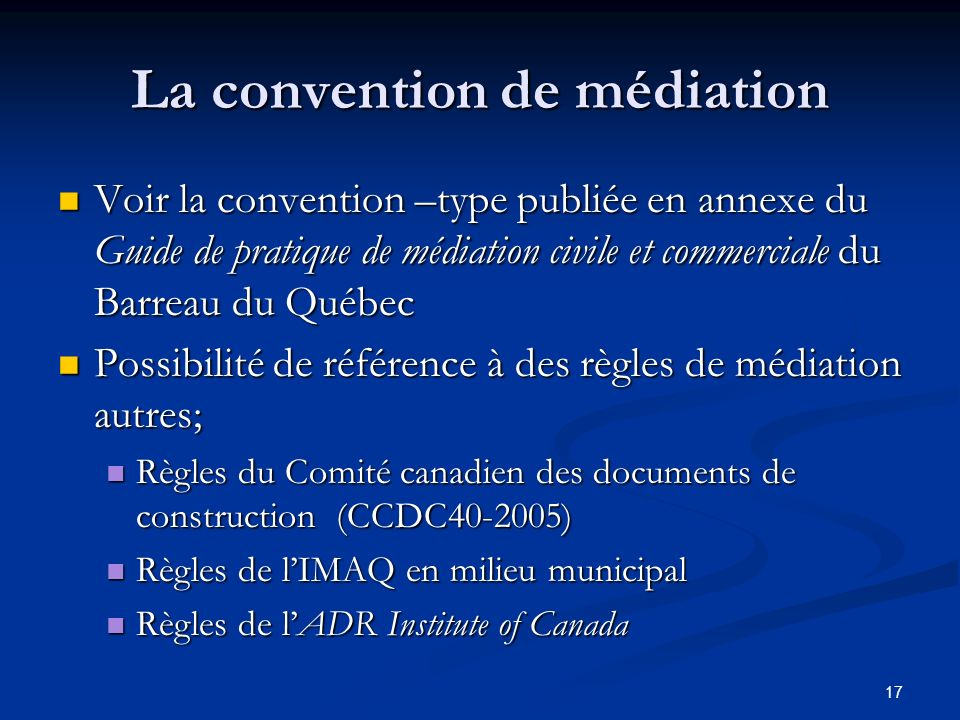 La convention de médiation