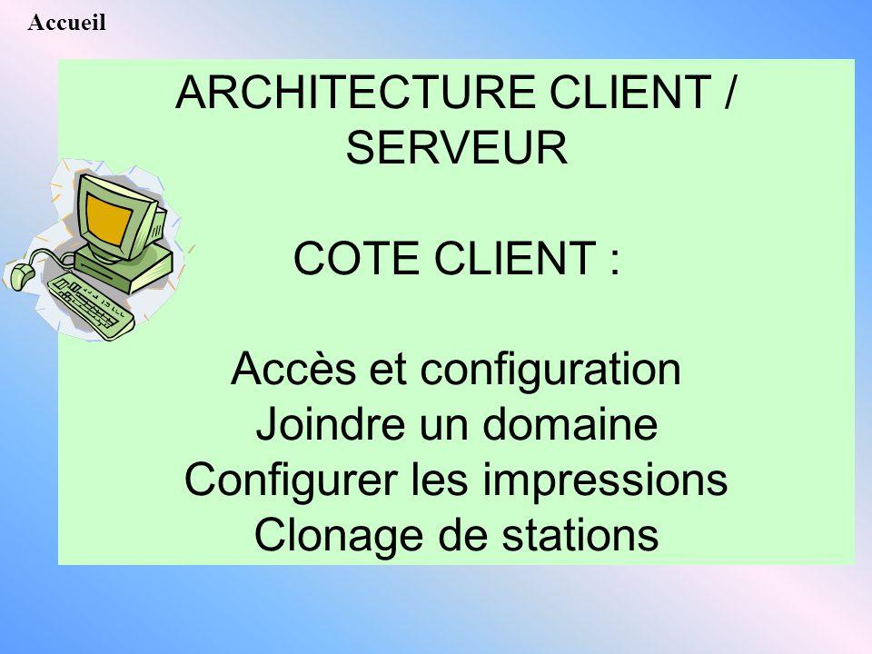 ARCHITECTURE CLIENT / SERVEUR COTE CLIENT : Accès et configuration