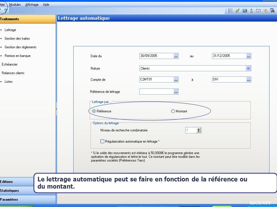 Le lettrage automatique peut se faire en fonction de la référence ou