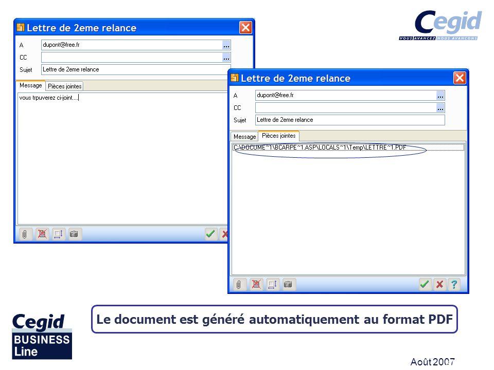 Le document est généré automatiquement au format PDF