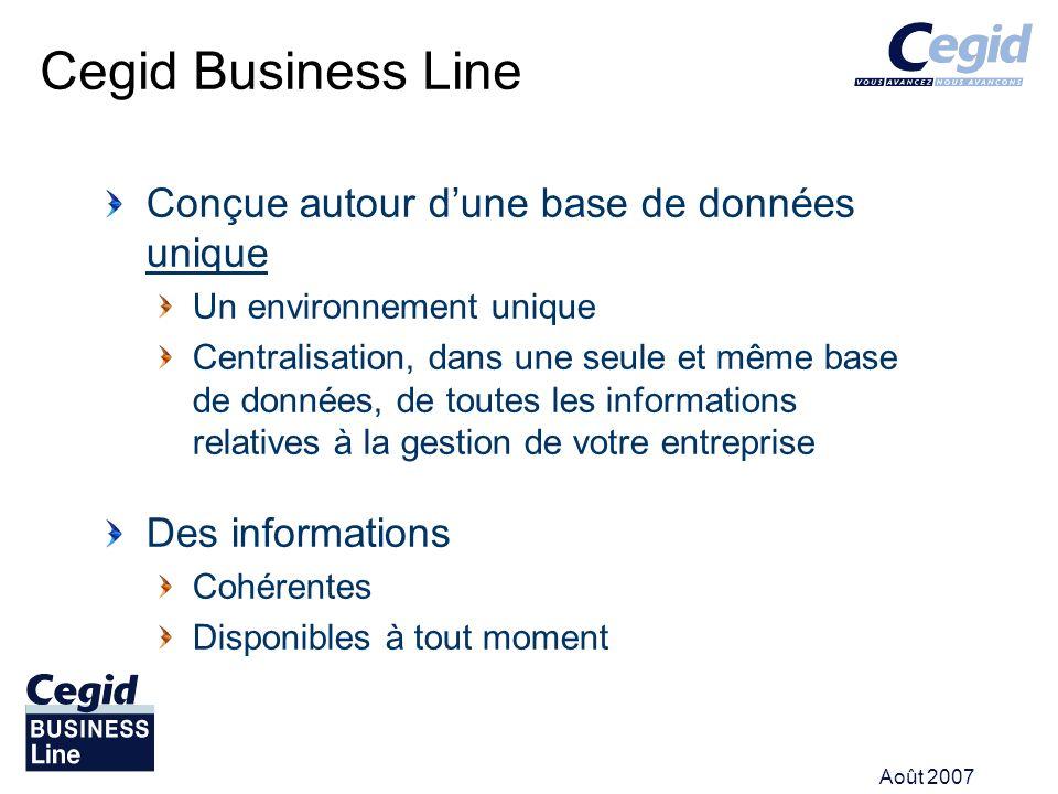 Cegid Business Line Conçue autour d'une base de données unique