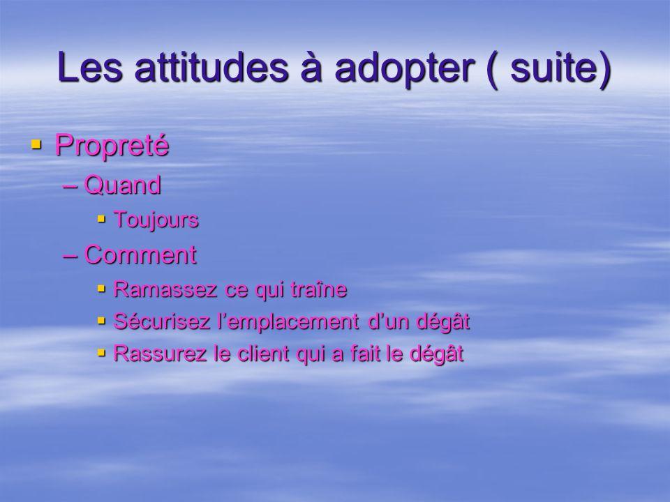Les attitudes à adopter ( suite)