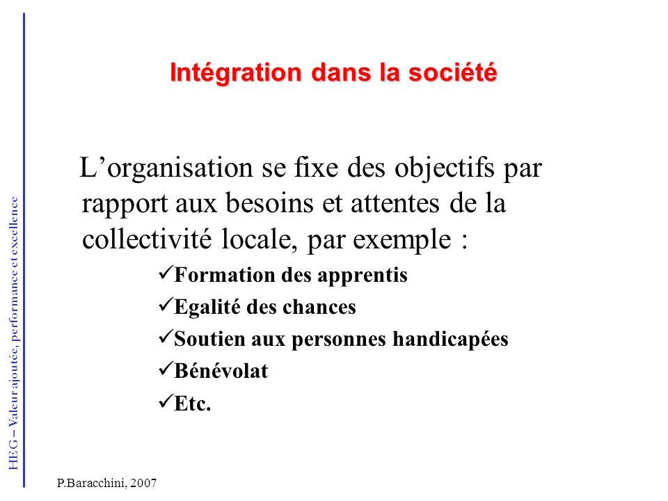 Intégration dans la société
