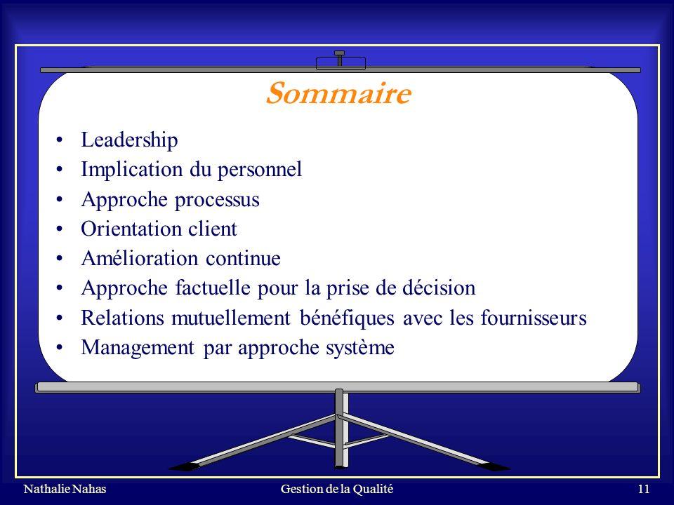 Sommaire Leadership Implication du personnel Approche processus
