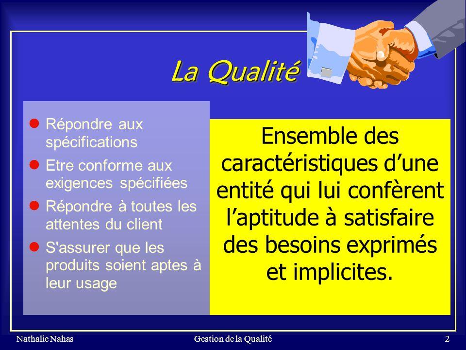 Gestion de la Qualité La Qualité. Répondre aux spécifications. Etre conforme aux exigences spécifiées.