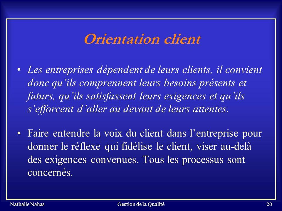 Gestion de la Qualité Orientation client.