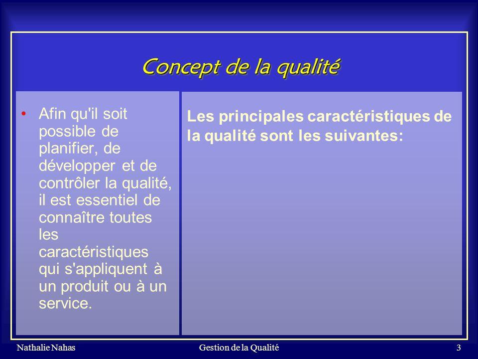 Gestion de la Qualité Concept de la qualité.
