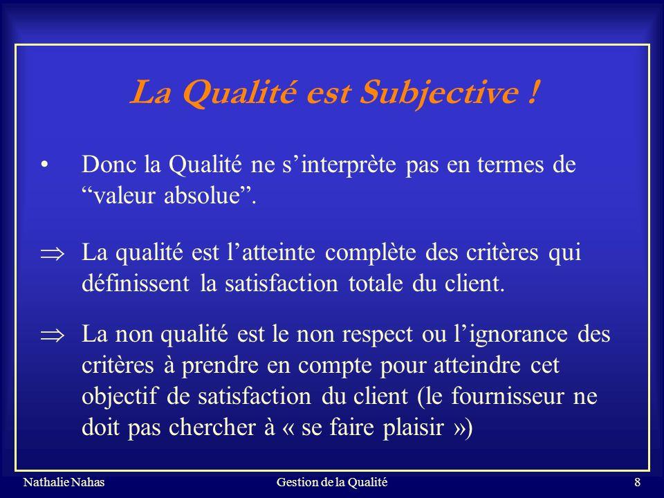 La Qualité est Subjective !