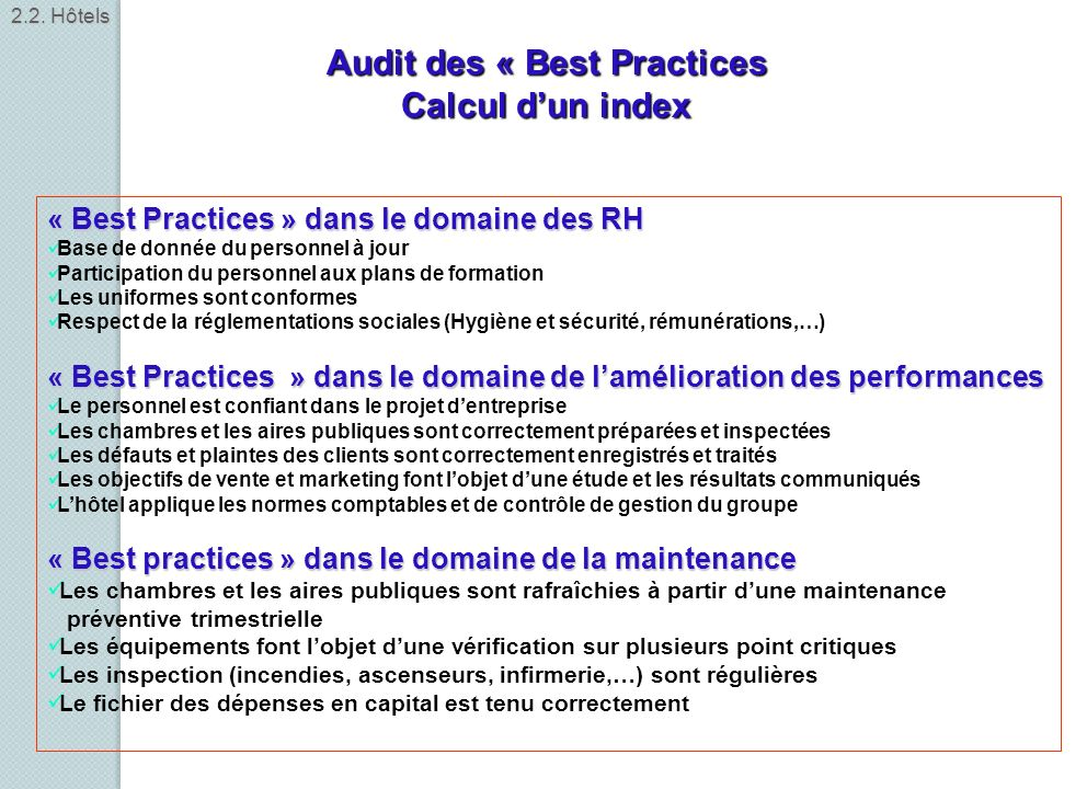 Audit des « Best Practices