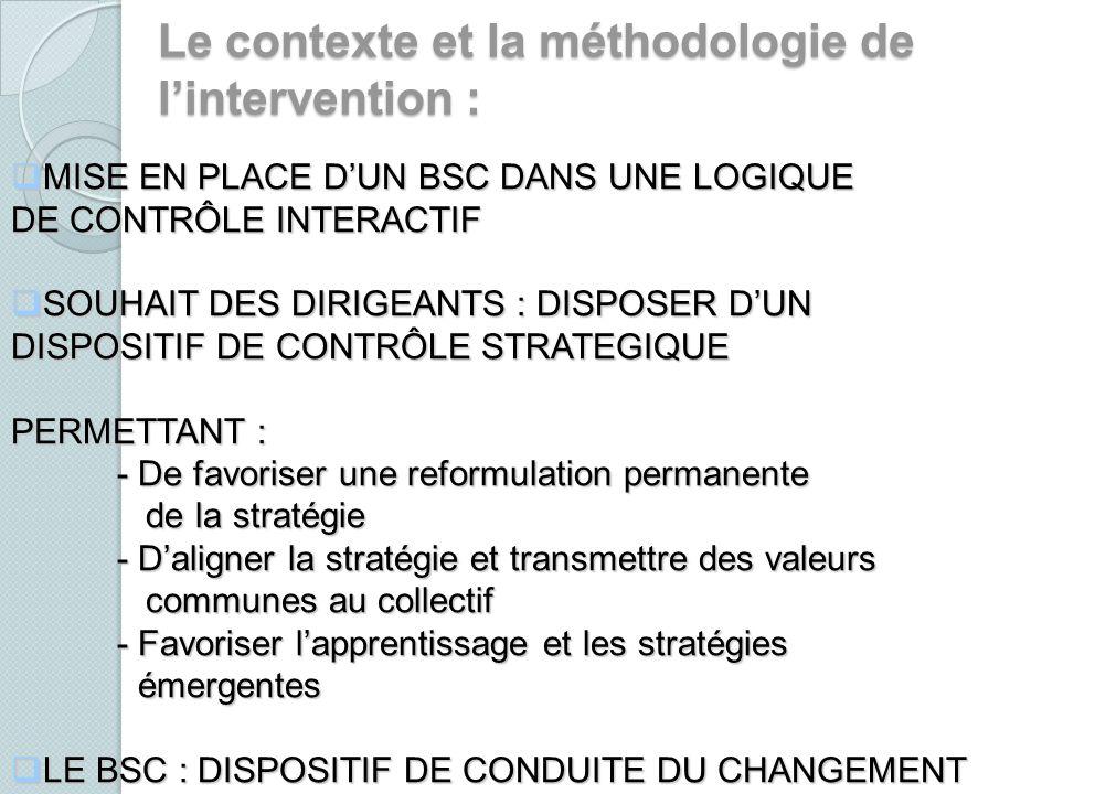 Le contexte et la méthodologie de l'intervention :