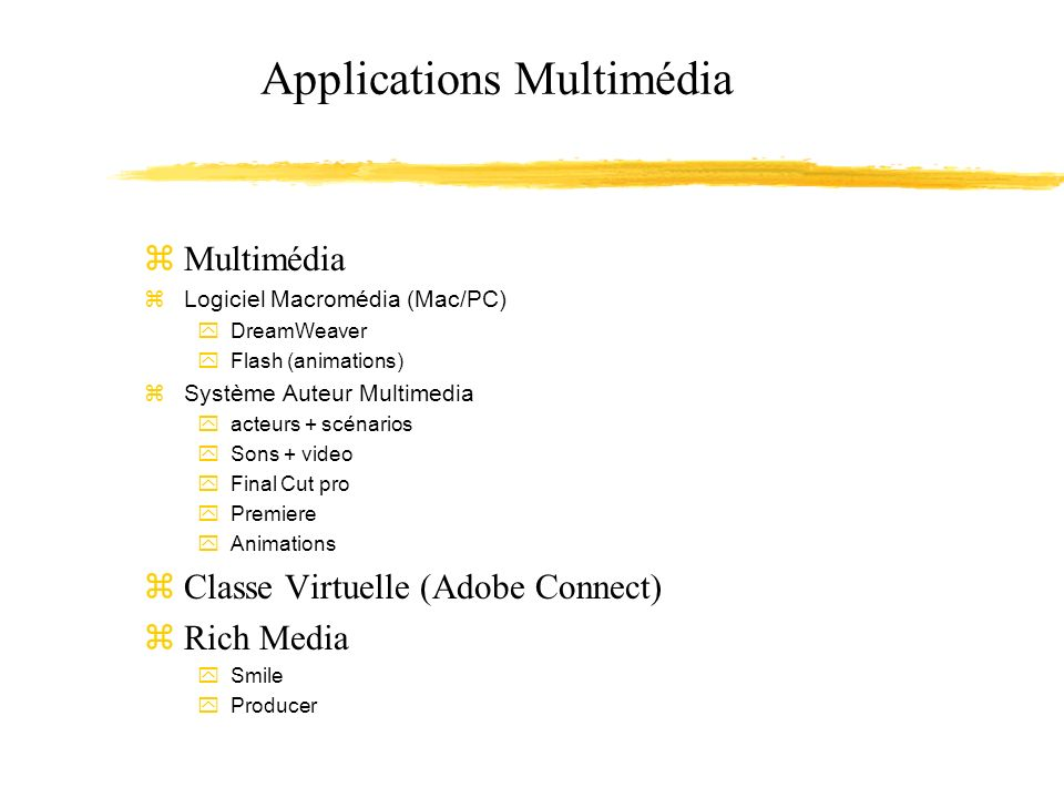 Applications Multimédia