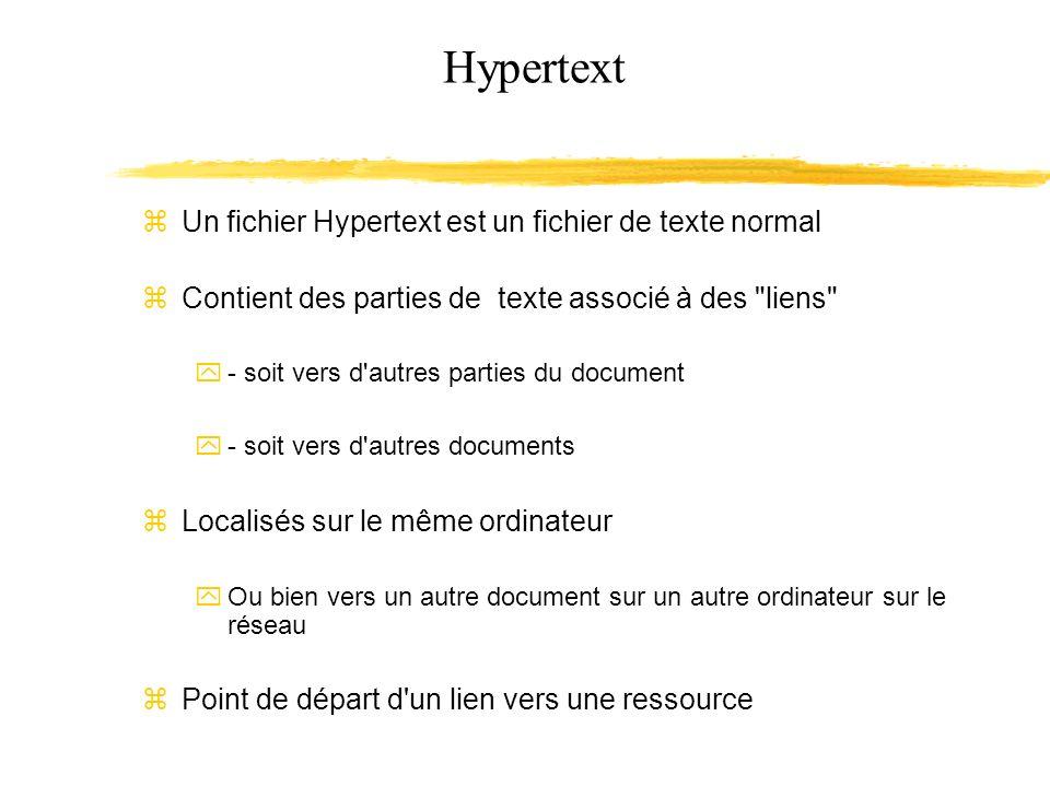 Hypertext Un fichier Hypertext est un fichier de texte normal