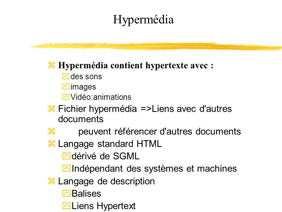 Hypermédia Hypermédia contient hypertexte avec :