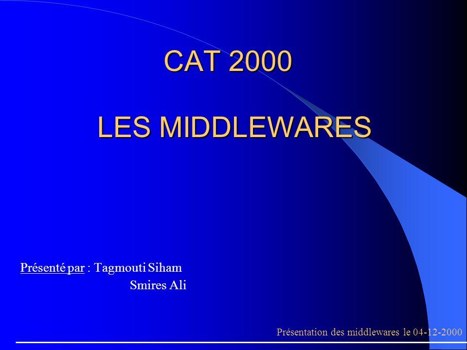 CAT 2000 LES MIDDLEWARES Présenté par : Tagmouti Siham Smires Ali